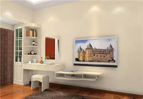 从左到右依次是收纳柜,梳妆台,电视柜.